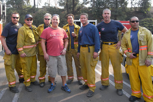 Dr. Klein and a group of proud fire fighters