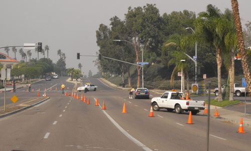 fire traffic block in poway