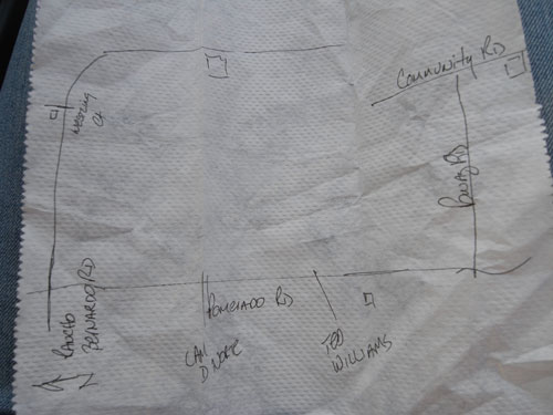poway fire departments map on napkin